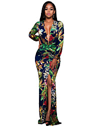 Women's Plunging V Neck Floral Print Front Slit Long Sleeve Maxi Dress