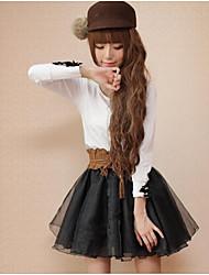 Damen Röcke,A-Linie einfarbig Tüll,Lässig/Alltäglich Einfach Mittlere Hüfthöhe Über dem Knie Elastizität Polyester Micro-elastischHerbst