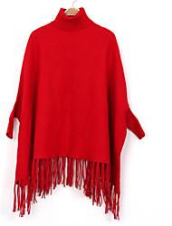 Damen Standard Mantel / Capes-Lässig/Alltäglich Einfach Solide Rot / Schwarz / Grau Rundhalsausschnitt Baumwolle Winter Mittel