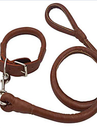 Dog Leash Casual Solid Brown PU Leather