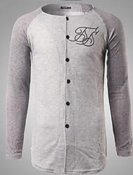 Tee-shirt Hommes,Couleur Pleine Sortie / Décontracté / Quotidien simple Automne Manches Longues Col Arrondi Gris Coton / Polyester Moyen