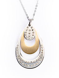 Fashion Water Shape Rhinestone Inlay Titanium Steel Pendant Necklace