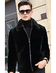 Men's Going out Vintage Fur Coat,Solid Shirt Collar Long Sleeve Winter Black Faux Fur Medium