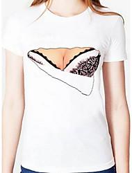 Tee-shirt Femme,Géométrique Sortie simple Manches Courtes Col Arrondi Coton
