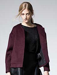 Mujer Simple / Chic de Calle Noche / Casual/Diario / Trabajo Un Color Abrigo,Escote Redondo Manga Larga Otoño / Invierno Lana Rojo Medio