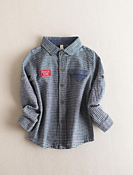 Boy Casual/Daily Striped Shirt,Cotton Fall Long Sleeve Regular
