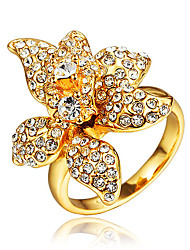 Gold Plating Engagement Ring for Women with Red Zircon