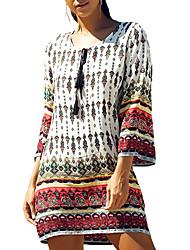 Ample Robe Femme Sortie / Décontracté / Quotidien Bohème / Chic de Rue,Imprimé Col Arrondi Au dessus du genou Manches Longues Blanc