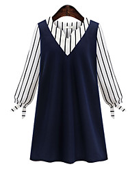 Women's Fine Stripe Spring  Plus Size Dress V Neck Long Sleeve Hit Color Splicing Stripe Dress