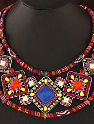Women's Collar Necklace Gemstone Resin Alloy Geometric Bohemian Orange Green Jewelry Party Daily 1pc