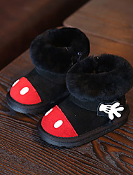 Girl's Baby Boots Winter Other Cowhide Outdoor Flat Heel Applique Black Gray Other