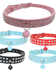 Dog Collar Adjustable/Retractable / Strobe/Flashing Rhinestone / Rock Red / Black / Blue / Brown / Pink PU Leather