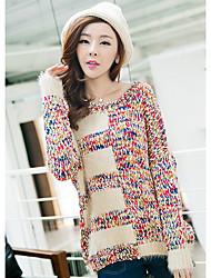Normal Pullover Femme Sortie simple,Imprimé Multi-couleur Col Arrondi Manches Longues Acrylique Automne Moyen Micro-élastique