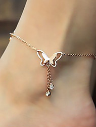 Women's Anklet/Bracelet Rose Gold Gemstone Titanium Steel 18K gold Imitation Diamond Fashion Cute Style Luxury Animal Shape Butterfly