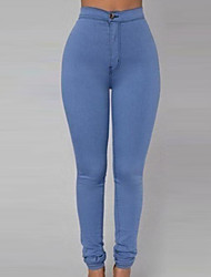 Women's Skinny Jeans Pants,Going out / Casual/Daily Sexy Solid High Rise Zipper Cotton Micro-elastic All Seasons