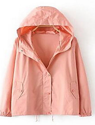 Women's Casual/Daily Simple Jackets,Solid V Neck Long Sleeve Fall Pink / Black / Green Polyester Medium