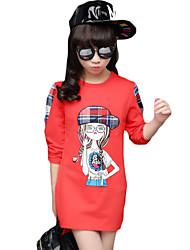 Menina Camiseta Casual Cor Única Inverno Algodão Manga Longa Regular