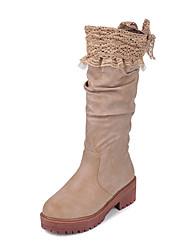 Women's Boots Winter Platform Leatherette Dress Wedge Heel Brown Khaki