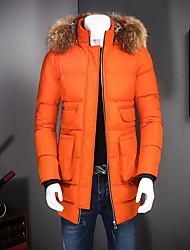 Manteau Rembourré Hommes,Normal simple Sortie / Décontracté / Quotidien Couleur Pleine-Coton Polyester Manches Longues Orange Mao