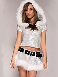 Cosplay Kostüme Santa Anzüge Fest/Feiertage Halloween Kostüme Silber Patchwork Top / Rock / Mehre Accessoires Weihnachten Frau Terylen