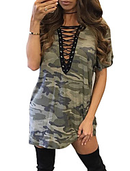 Women's Club Simple Loose DressPrint Deep V Mini Short Sleeve Loose Camo Dress