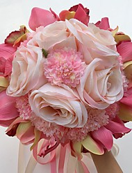 """Wedding Flowers Round Roses Lilies Peonies Bouquets Wedding Party/ Evening Satin 9.84""""(Approx.25cm)"""