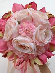 """Bouquets de Noiva Redondo Rosas Lírios Peônias Buquês Casamento Festa / noite Cetim 9.84""""(Aprox.25cm)"""