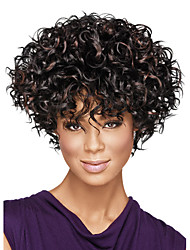 Capless Short Afro Kinky Fluffy Synthetic Wigs for Women Ombre Dark Brown Heat Resistant with Free Hair Net