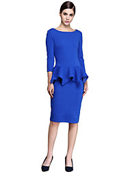 Women's Formal / Work / Party/Cocktail Sexy Sheath Dress,Solid Round Neck Knee-length ¾ Sleeve Blue Polyester Spring / Fall High Rise
