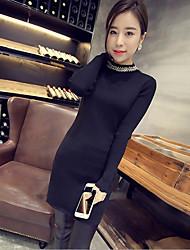 Longue Pullover Femme Décontracté / Quotidien simple,Couleur Pleine Noir Gris Col Roulé Manches Longues Polyester Automne Moyen