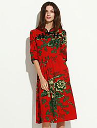 Mulheres Solto / Bainha Vestido,Casual Fofo / Moda de Rua Floral Colarinho Chinês Médio Manga ¾ Azul / Vermelho Algodão Outono