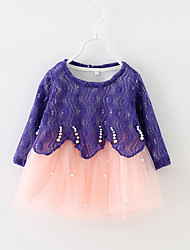 Girl's Casual/Daily Patchwork Dress,Cotton Spring / Fall Long Sleeve