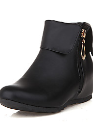 Women's Boots Winter Others Leatherette Dress / Casual Wedge Heel Zipper Black / Red / White / Gray / Navy Others
