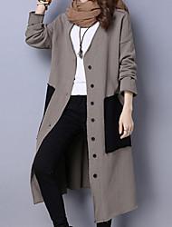 Mujer Vintage / Simple / Chic de Calle Noche / Casual/Diario / Trabajo Un Color Abrigo,Escote en Pico Manga Larga Primavera / Invierno