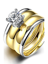 Anéis Casamento / Festa / Diário / Casual Jóias Aço Inoxidável / Zircão Feminino Anel / Anel de noivado 1pç,6 / 7 / 8 / 9 Dourado