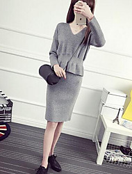 Women's Going out Cute Set Skirt Suits,Solid Round Neck Long Sleeve White / Black / Gray Cotton