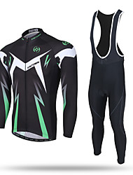 XINTOWN Cycling Jersey with Bib Tights Men's Long Sleeve BikeThermal / Warm Windproof Moisture Permeability Front Zipper