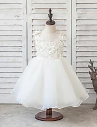 Princess Short / Mini Flower Girl Dress - Satin / Tulle Sleeveless Jewel with Beading / Bow(s) / Flower(s)