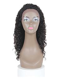 20 дюймов волнистый шнурка человеческих волос передние парики черный # 1 б передние волнистые бесклеевой кружева
