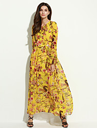 Women's Casual/Daily Swing Dress,Floral Crew Neck Maxi Long Sleeve Red / Yellow Polyester Spring