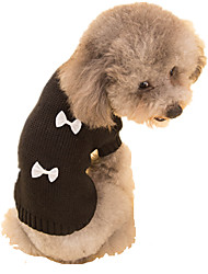 Dog Sweater Dog Clothes Spring/Fall Bowknot Keep Warm Black Black/White