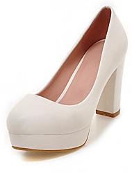 Белый Черный Бежевый Розовый-Для женщин-Для офиса Повседневный Для праздника-Дерматин-На толстом каблуке-Light Up обувь-Обувь на каблуках