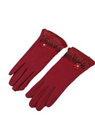 (Note - rouge) ms échouent flocage des gants tactiles et des gants de fourrure de lapin chaud