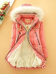 Пальто Простое Обычная Пуховик Для женщин,Однотонный На каждый день Полиэстер Пух белой утки,Длинный рукав Капюшон