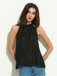Women's Solid Black Blouse , Stand Sleeveless