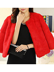 Women's Casual/Daily Simple Fur Coat,Solid Long Sleeve Pink / Red / White / Gray Rabbit Fur