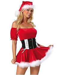 Fantasias de Cosplay Ternos de Papai Noel Cosplay de Filmes Vermelho Cor Única Vestido / Cinto Natal Feminino Poliéster