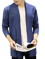 Men's Going out / Casual/Daily / Party/Cocktail Vintage / Simple / Street chic Regular Cardigan,Solid Blue / Black / Gray V NeckLong