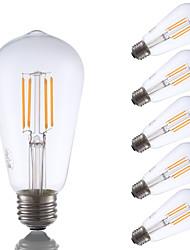3.5 E26 Lâmpadas de Filamento de LED ST19 4 COB 325 lm Branco Quente Regulável / Decorativa AC 110-130 V 6 pçs