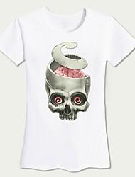 Tee-shirt Femme,Couleur Pleine / Imprimé Sortie simple / Actif Eté Manches Courtes Col Arrondi Blanc Coton Moyen